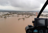 helicopter flight over flooded Gloucestershire